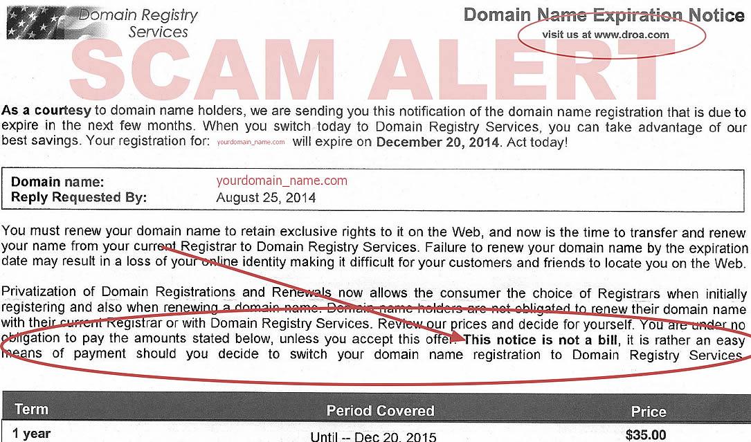 droa.com domain name switch scam - DROA Domain Expiry Notice Scam